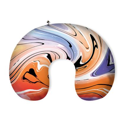 Neck Pillow - Multicolour Swirling Marble Pattern 4 of 12