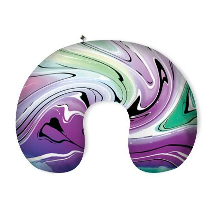 Neck Pillow - Multicolour Swirling Marble Pattern 7 of 12