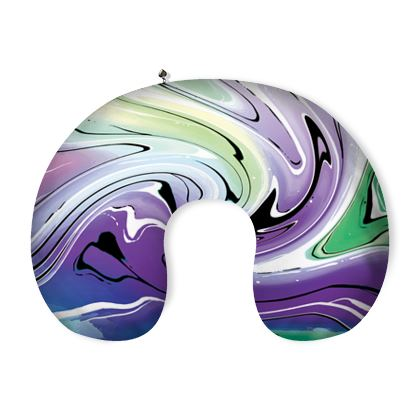 Neck Pillow - Multicolour Swirling Marble Pattern 8 of 12