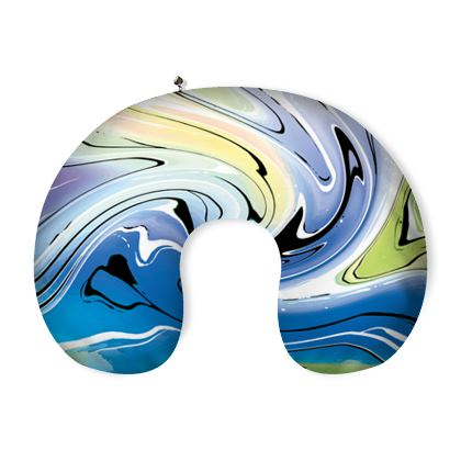 Neck Pillow - Multicolour Swirling Marble Pattern 9 of 12