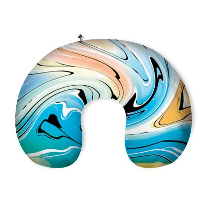Neck Pillow - Multicolour Swirling Marble Pattern 10 of 12