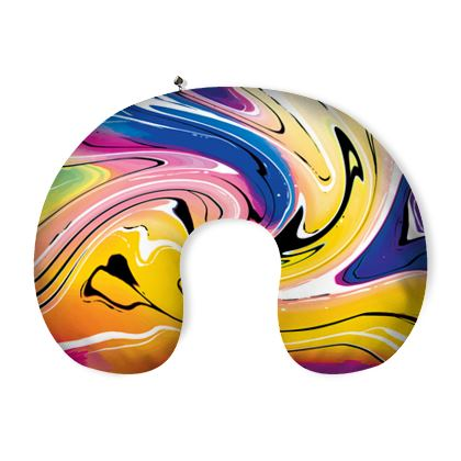 Neck Pillow - Multicolour Swirling Marble Pattern 12 of 12
