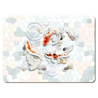 Placemats - Large, Showing Two Koi Fish in Water Illustrations