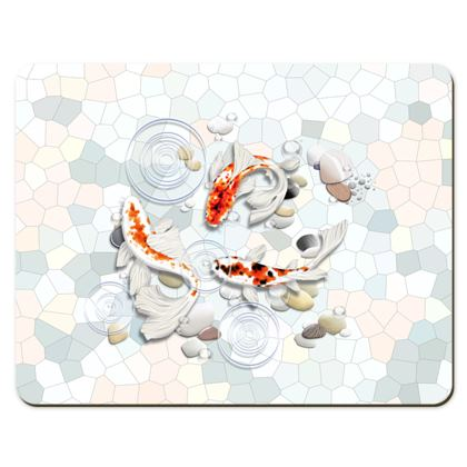 Placemats - Medium Showing Two Koi Fish in Water Illustrations