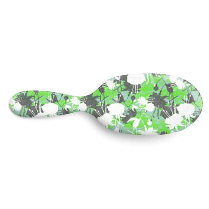 Hairbrush Green, Black, Floral  Fuchsias  Minted
