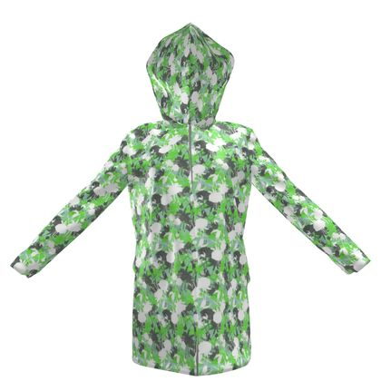 Womens Hooded Rain Mac Green, Black  Fuchsias  Minted