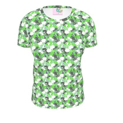 Ladies Cut And Sew T Shirt Green, Black, Floral  Fuchsias  Minted
