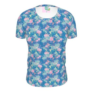 Ladies Cut And Sew T Shirt Blue, Pink, Floral  Fuchsias  Airforce