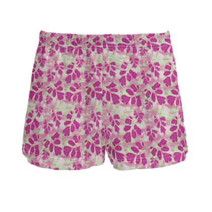 Ladies Silk Pyjama Shorts Pink, Green botanical  Laced Leaf  Pomegranate