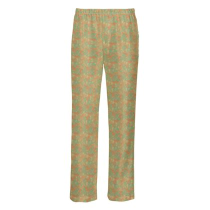 Mens Silk Pyjama Bottoms Orange, Teal Botanical  Laced Leaf  Golden Eagle