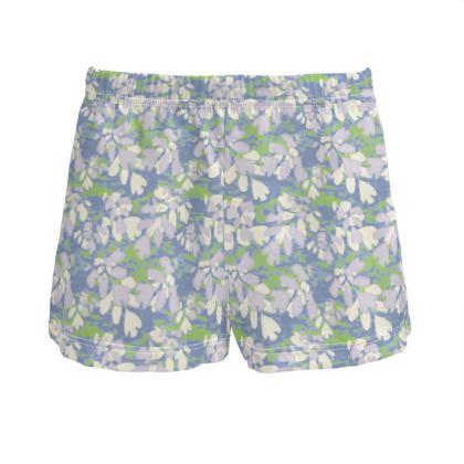 Ladies Silk Pyjama Shorts Blue, Green  Laced Leaf  Platinum