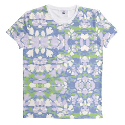 Cut And Sew All Over Print T Shirt Blue, Green, Botanical  Laced Leaves  Platinum