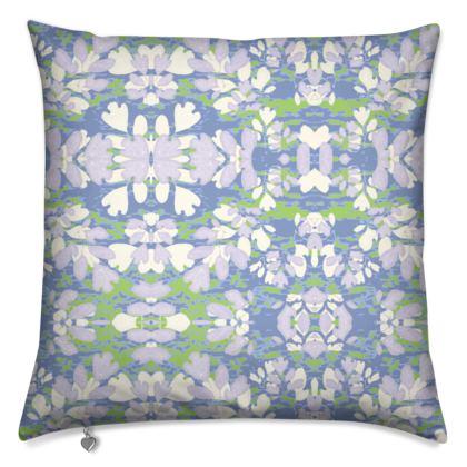 Cushions Blue, Green, Botanical  Laced Leaves  Platinum