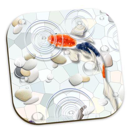 Drinks Coasters. Six Individual Koi Fish Designs