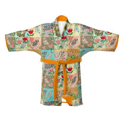 Kimono design patchwork oiseaux