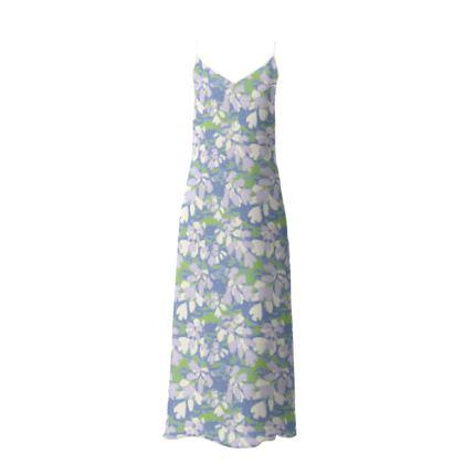 Slip Dress Blue, White, Botanical  Laced Leaves  Platinum