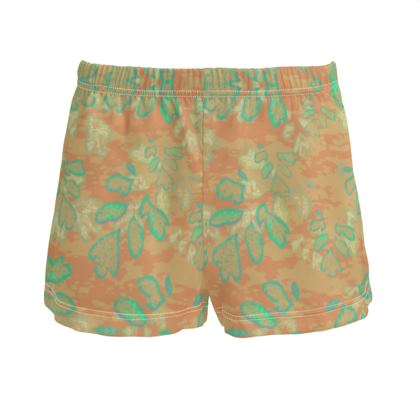 Ladies Silk Pyjama Shorts Apricot, Green, Botanical  Laced Leaf  Golden Eagle