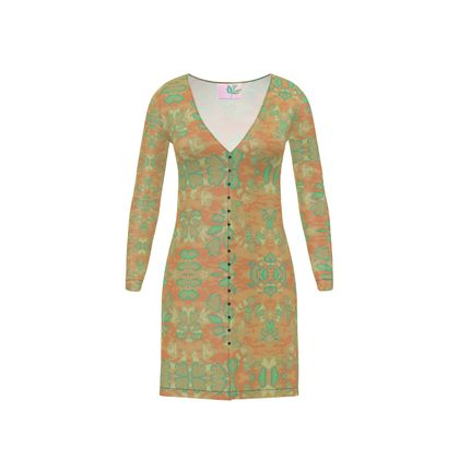 Ladies Cardigan Apricot, Green, Botanical  Laced Leaves  Golden Eagle