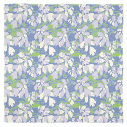 Scarf Wrap Or Shawl Blue, [133 cm x 105 cm shown]  Green, Botanical  Laced Leaf  Platinum