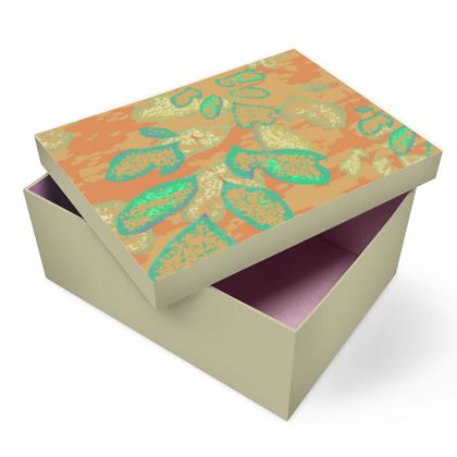 Photo Box [A5 Shown] Orange, Green, Botanical  Laced Leaf  Golden Eagle