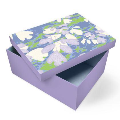 Photo Box Blue, [A5 Shown] Green, Botanical  Laced Leaf  Platinum