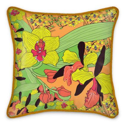 Cymbidium Orchid Silk Cushions