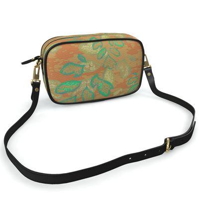 Camera Bag Orange, Green Botanical  Laced Leaf  Golden Eagle
