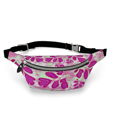 Fanny Pack Pink, Green, Botanical  Laced Leaves  Pomegranate