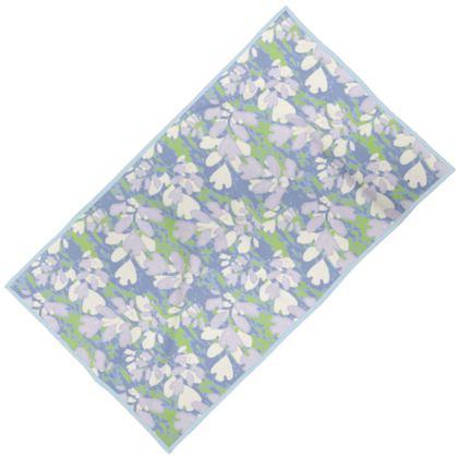 Towels [child shown] Blue, Green, Botanical  Laced Leaf  Platinum