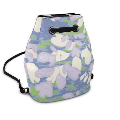 Bucket Backpack Blue, Green, Botanical  Laced Leaf  Platinum