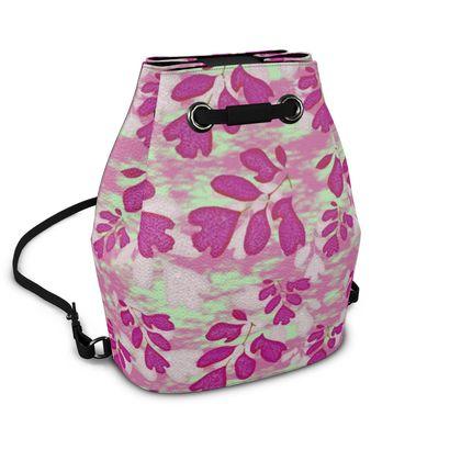 Bucket Backpack, Pink, Green Botanical  Laced Leaf  Pomegranate