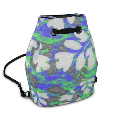 Bucket Backpack, Blue, Green, Botanical  Laced Leaf  Evening Glow