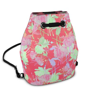 Bucket Backpack Red, Green, Floral  Fuchsias  Hot Pepper