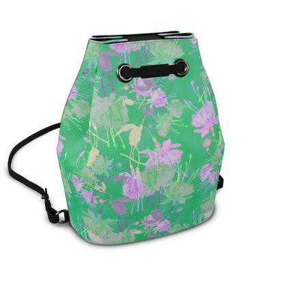Bucket Backpack Green, Mauve, Floral,  Fuchsias  Apple                                   l  Fuchsias