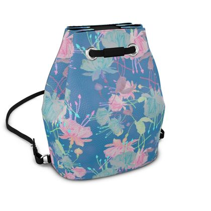 Bucket Backpack, Blue, Pink, Floral,  Fuchsias  Airforce