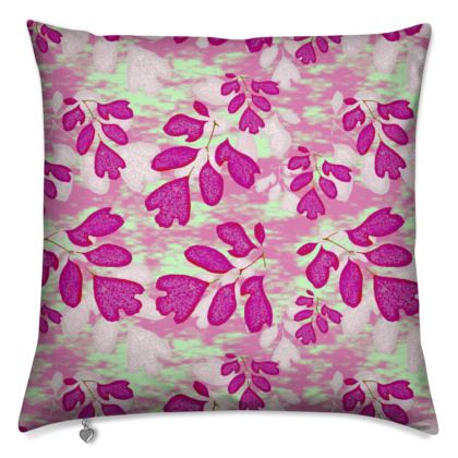 Cushions [40cm square shown printed both sides] Pink, Green, Botanical  Laced Leaf  Pomegranate