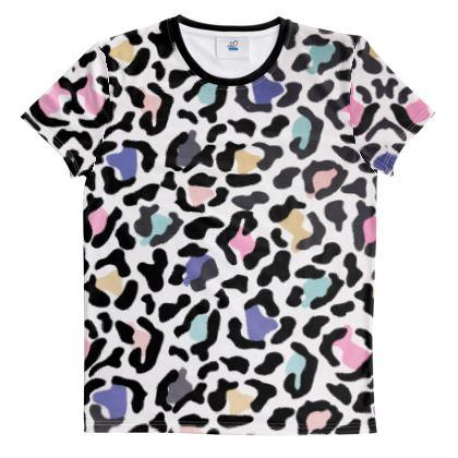 Cut And Sew All Over Print T Shirt Safari Rainbow