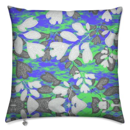 Cushions Blue, Green Botanical  Laced Leaf  Evening Glow