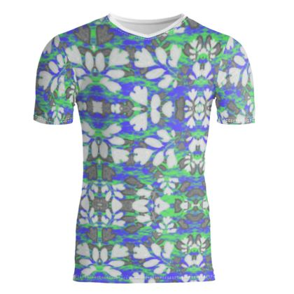 Slim Fit Mens T-Shirt, Blue, Green, Botanical  Laced Leaves  Evening Glow