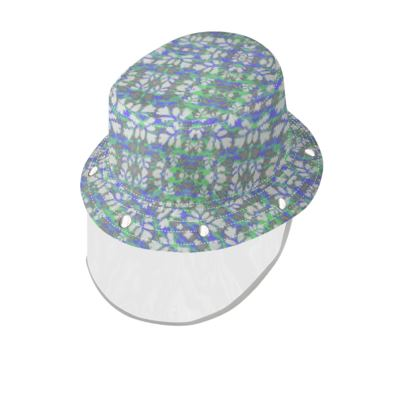 Bucket Hat With Visor Blue, Green, Botanical  Laced Leaf   Evening Glow