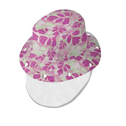 Bucket Hat [Denim shown] With Visor, Pink, Green, Botanical  Laced Leaf  Pomegranate
