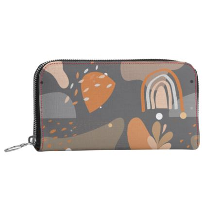 Leather Zip Purse Abstract 01