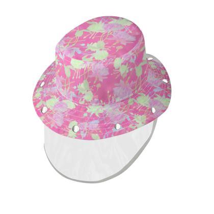 Bucket Hat With Visor [Denim shown] Pink, Yellow, Floral  Fuchsias  Cherry Cake