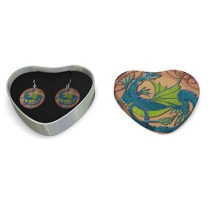 Blue-Green Dragon Sterling Silver Earrings