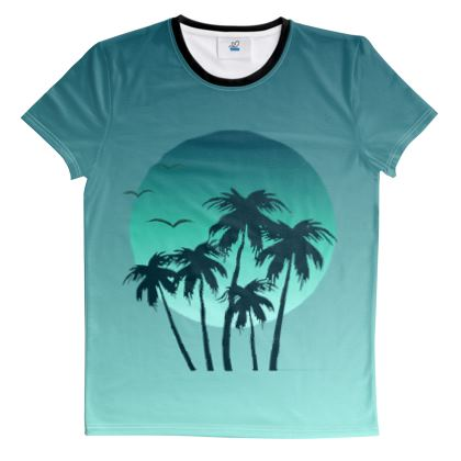 Cut And Sew All Over Print T Shirt Miami Vibes