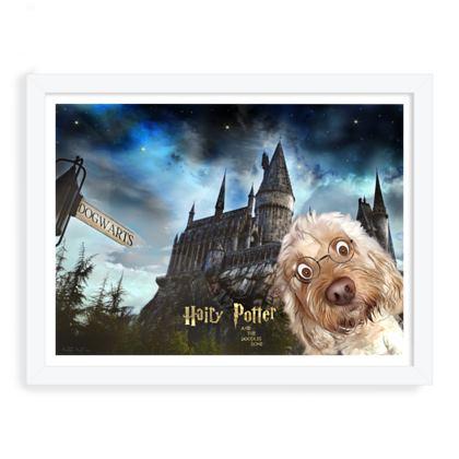 Hairy Potter framed art prin ~ white frame