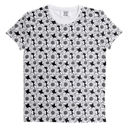 Cherry Blossoms Black and White Pattern All Over Graphic Tee