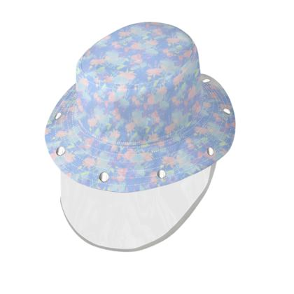 Bucket Hat With Visor, [child size] Blue, Pink, Floral  Fuchsias  Baby Blue
