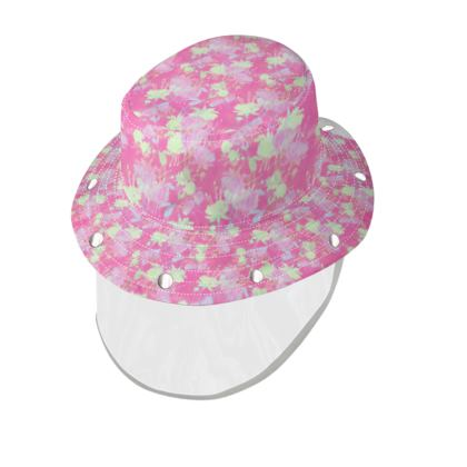 Bucket Hat With Visor [child size] Pink, Yellow, Floral  Fuchsias  Cherry Cake