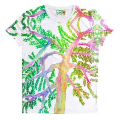 White T-shirt- Pint Multicolor Print